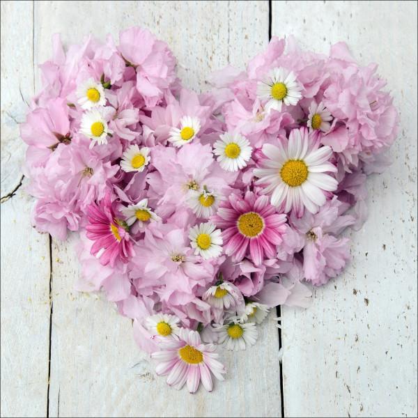 Glas-Bild Flower Heart II