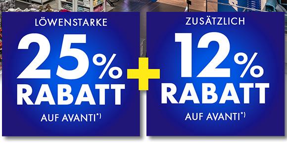 25%+12% Rabatt auf Avanti