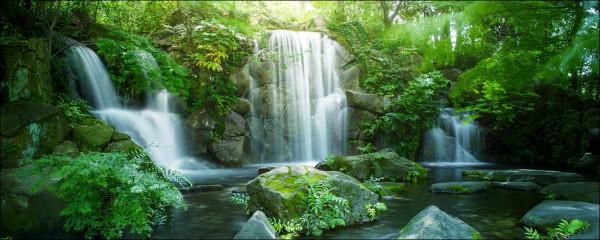 Glas-Bild Waterfall In Paradise