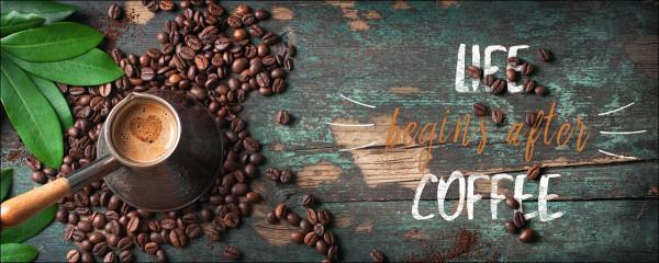 Glas-Bild Life & Coffee Creation