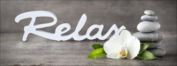 Glas-Bild Relax With Stones & Flowers I