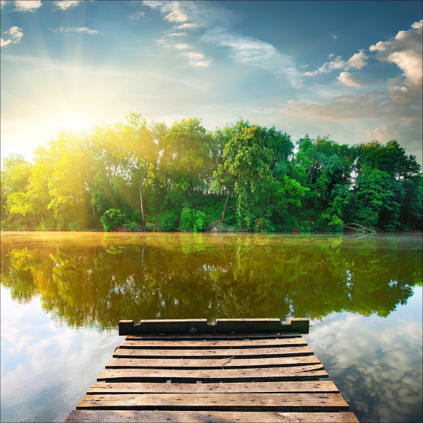 Glas-Bild Lonely Lake II