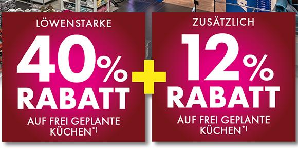 40+12% Rabatt aus frei geplante Küchen